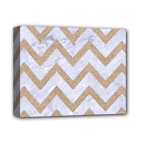 CHEVRON9 WHITE MARBLE & SAND (R) Deluxe Canvas 14  x 11