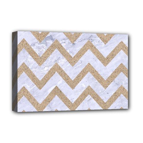 CHEVRON9 WHITE MARBLE & SAND (R) Deluxe Canvas 18  x 12