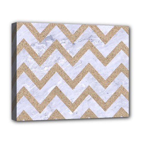CHEVRON9 WHITE MARBLE & SAND (R) Deluxe Canvas 20  x 16