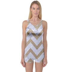 CHEVRON9 WHITE MARBLE & SAND (R) One Piece Boyleg Swimsuit