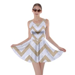 CHEVRON9 WHITE MARBLE & SAND (R) Skater Dress