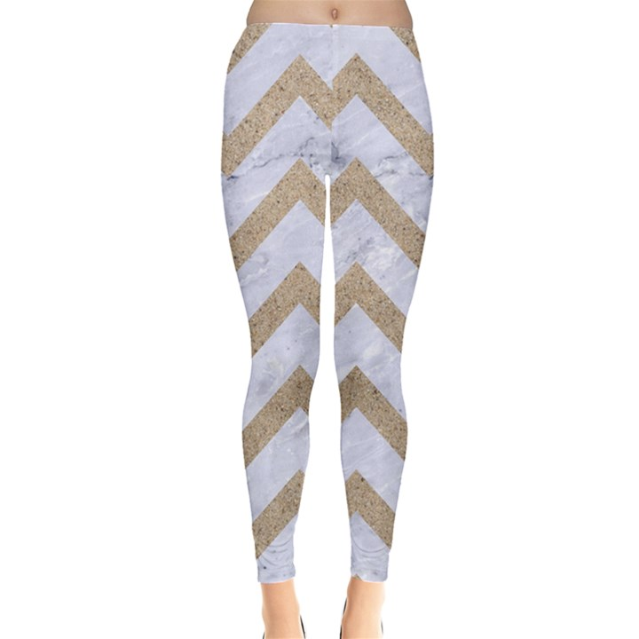 CHEVRON9 WHITE MARBLE & SAND (R) Leggings