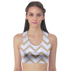 CHEVRON9 WHITE MARBLE & SAND (R) Sports Bra