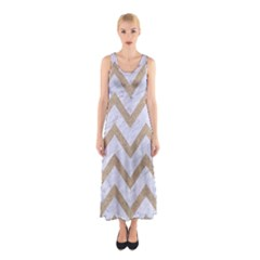 CHEVRON9 WHITE MARBLE & SAND (R) Sleeveless Maxi Dress