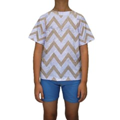 CHEVRON9 WHITE MARBLE & SAND (R) Kids  Short Sleeve Swimwear