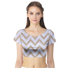CHEVRON9 WHITE MARBLE & SAND (R) Short Sleeve Crop Top