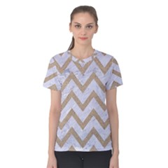 CHEVRON9 WHITE MARBLE & SAND (R) Women s Cotton Tee