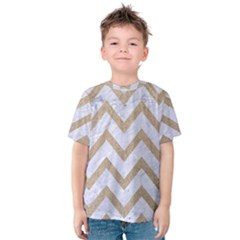 CHEVRON9 WHITE MARBLE & SAND (R) Kids  Cotton Tee
