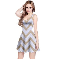 CHEVRON9 WHITE MARBLE & SAND (R) Reversible Sleeveless Dress