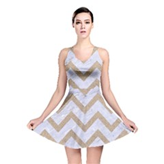 CHEVRON9 WHITE MARBLE & SAND (R) Reversible Skater Dress
