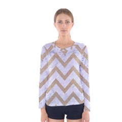 CHEVRON9 WHITE MARBLE & SAND (R) Women s Long Sleeve Tee