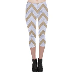 CHEVRON9 WHITE MARBLE & SAND (R) Capri Leggings