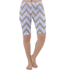 CHEVRON9 WHITE MARBLE & SAND (R) Cropped Leggings