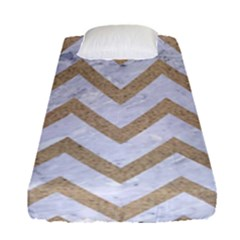 CHEVRON9 WHITE MARBLE & SAND (R) Fitted Sheet (Single Size)