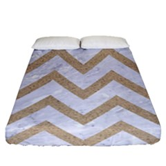 CHEVRON9 WHITE MARBLE & SAND (R) Fitted Sheet (Queen Size)