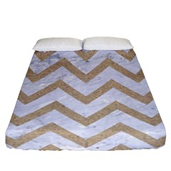 Chevron9 White Marble & Sand (r) Fitted Sheet (california King Size) by trendistuff