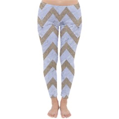 CHEVRON9 WHITE MARBLE & SAND (R) Classic Winter Leggings