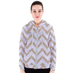CHEVRON9 WHITE MARBLE & SAND (R) Women s Zipper Hoodie
