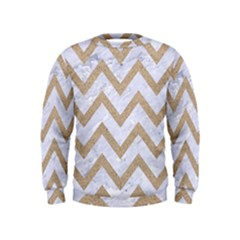 CHEVRON9 WHITE MARBLE & SAND (R) Kids  Sweatshirt