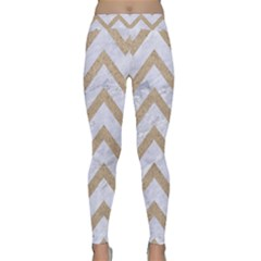 CHEVRON9 WHITE MARBLE & SAND (R) Classic Yoga Leggings