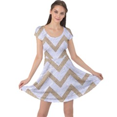CHEVRON9 WHITE MARBLE & SAND (R) Cap Sleeve Dress
