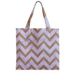CHEVRON9 WHITE MARBLE & SAND (R) Zipper Grocery Tote Bag