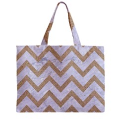 CHEVRON9 WHITE MARBLE & SAND (R) Zipper Mini Tote Bag
