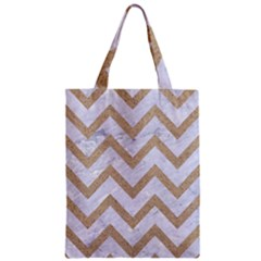 CHEVRON9 WHITE MARBLE & SAND (R) Zipper Classic Tote Bag