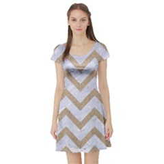 CHEVRON9 WHITE MARBLE & SAND (R) Short Sleeve Skater Dress