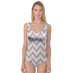 CHEVRON9 WHITE MARBLE & SAND (R) Princess Tank Leotard
