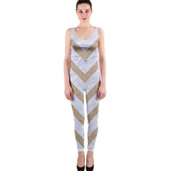 CHEVRON9 WHITE MARBLE & SAND (R) One Piece Catsuit