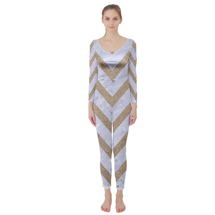 CHEVRON9 WHITE MARBLE & SAND (R) Long Sleeve Catsuit