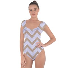 CHEVRON9 WHITE MARBLE & SAND (R) Short Sleeve Leotard