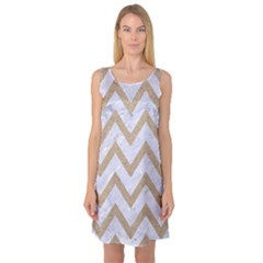 CHEVRON9 WHITE MARBLE & SAND (R) Sleeveless Satin Nightdress