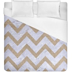 Chevron9 White Marble & Sand (r) Duvet Cover (king Size)