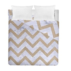 CHEVRON9 WHITE MARBLE & SAND (R) Duvet Cover Double Side (Full/ Double Size)