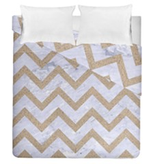 CHEVRON9 WHITE MARBLE & SAND (R) Duvet Cover Double Side (Queen Size)
