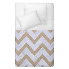 CHEVRON9 WHITE MARBLE & SAND (R) Duvet Cover (Single Size)