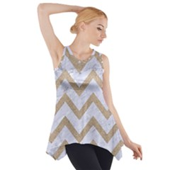 CHEVRON9 WHITE MARBLE & SAND (R) Side Drop Tank Tunic