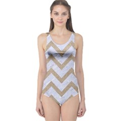 CHEVRON9 WHITE MARBLE & SAND (R) One Piece Swimsuit
