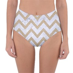 CHEVRON9 WHITE MARBLE & SAND (R) Reversible High-Waist Bikini Bottoms