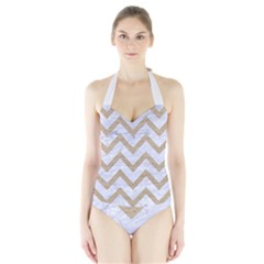 Chevron9 White Marble & Sand (r) Halter Swimsuit