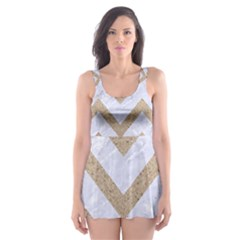 CHEVRON9 WHITE MARBLE & SAND (R) Skater Dress Swimsuit