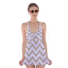 CHEVRON9 WHITE MARBLE & SAND (R) Halter Dress Swimsuit