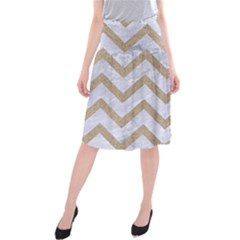 Chevron9 White Marble & Sand (r) Midi Beach Skirt