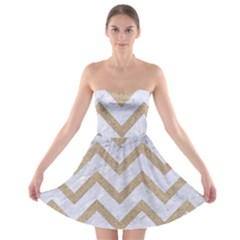 CHEVRON9 WHITE MARBLE & SAND (R) Strapless Bra Top Dress