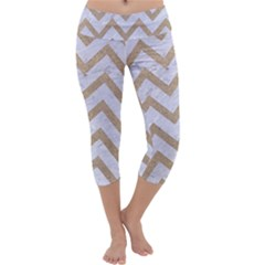CHEVRON9 WHITE MARBLE & SAND (R) Capri Yoga Leggings
