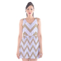 CHEVRON9 WHITE MARBLE & SAND (R) Scoop Neck Skater Dress
