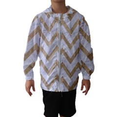 CHEVRON9 WHITE MARBLE & SAND (R) Hooded Wind Breaker (Kids)