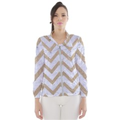 CHEVRON9 WHITE MARBLE & SAND (R) Wind Breaker (Women)